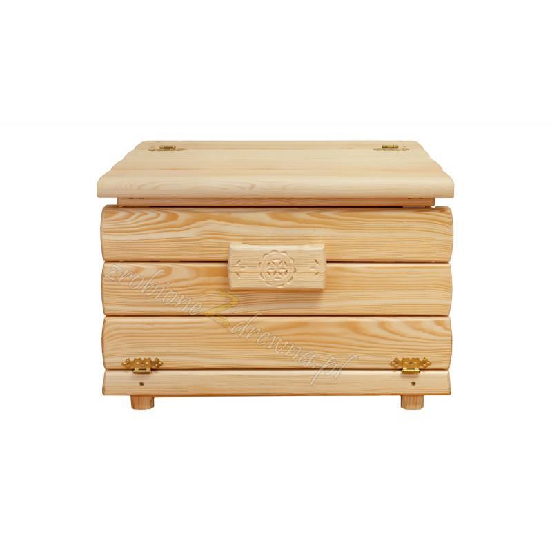 Drewniany kufer Góralski 25 do salonu otwierany do góry>                                         <span class=