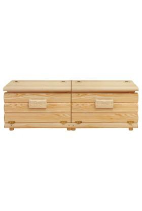 Kufer sosnowy Góralski 28 do sypialni otwierany do góry dzielony