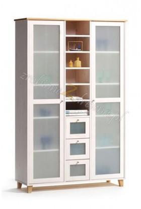 Biała witryna sosnowa Siena 05 do salonu