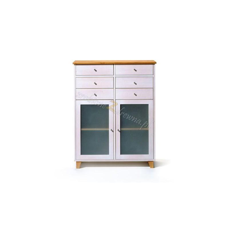 Biała komoda drewniana Siena 07 w stylu skandynawskim>                                         <span class=