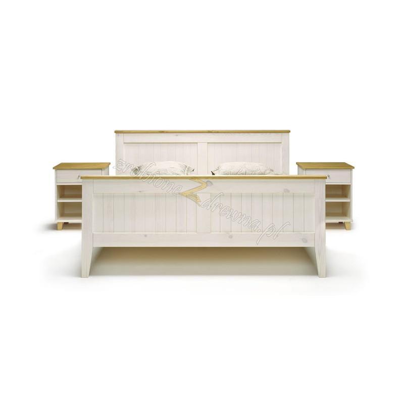 Białe łóżko drewniane Siena 25 w stylu skandynawskim>                                         <span class=
