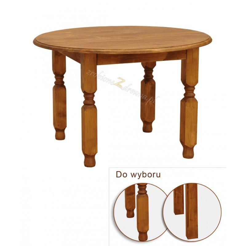 Stół okrągły z litego drewna Hacienda w stylu retro>                                         <span class=