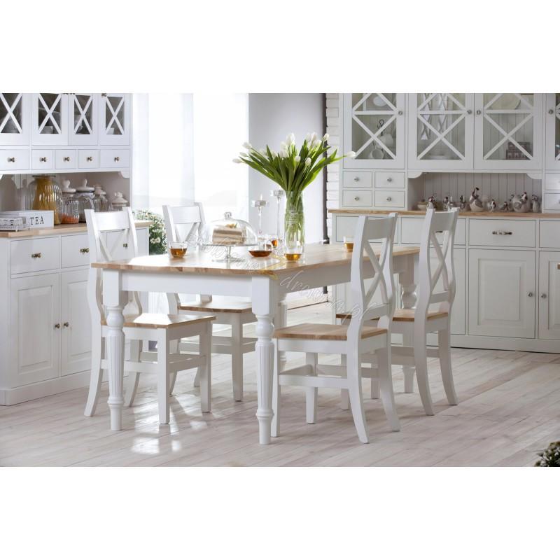 Biały stół drewniany Nicea 05 w stylu prowansalskim>                                         <span class=