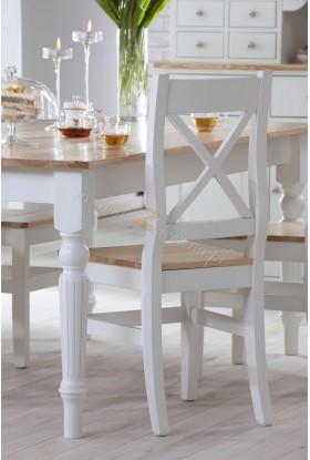 Białe krzesło Nicea 06 z litego drewna sosnowego