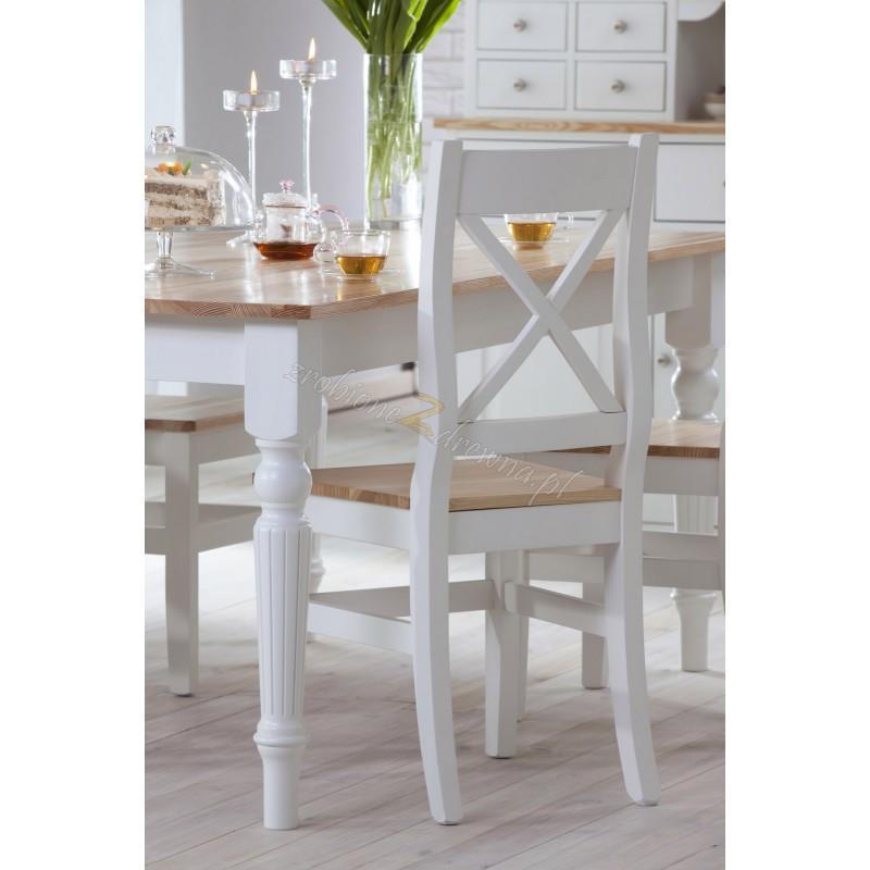 Białe krzesło Nicea 06 z litego drewna sosnowego>                                         <span class=