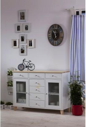 Biała komoda drewniana Siena 11 w stylu skandynawskim