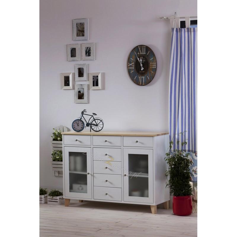 Biała komoda drewniana Siena 11 w stylu skandynawskim>                                         <span class=