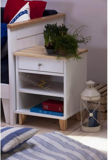 Biała szafka nocna drewniana Siena 21 w stylu skandynawskim