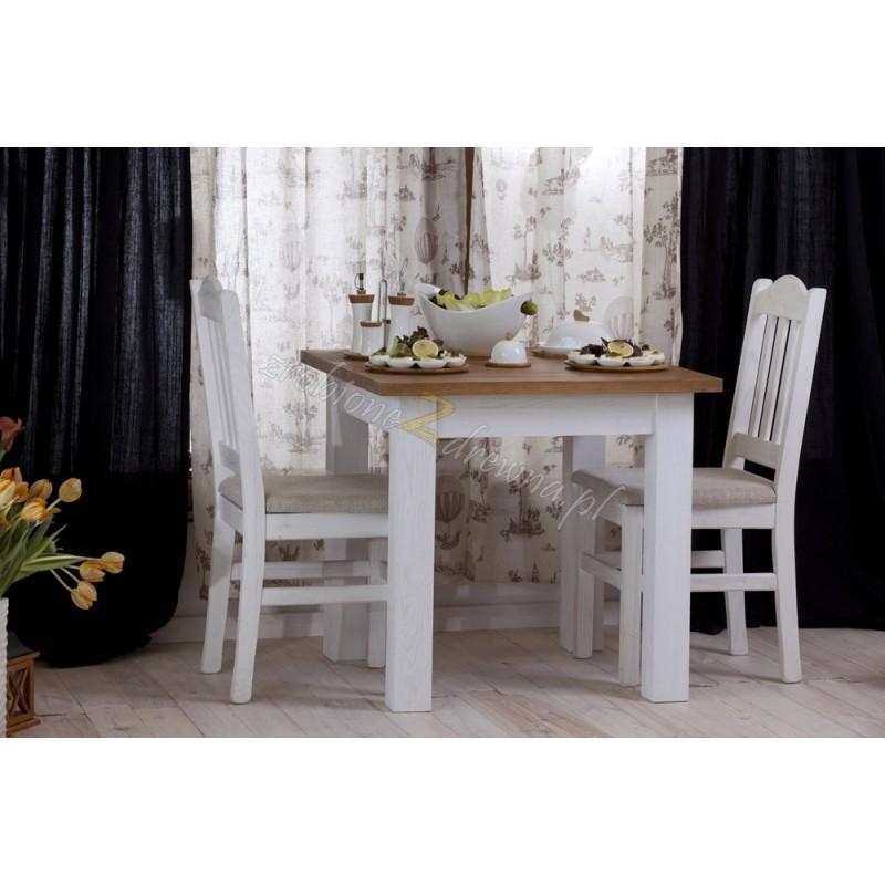 Biały stolik Roma 35 z litego drewna>                                         <span class=