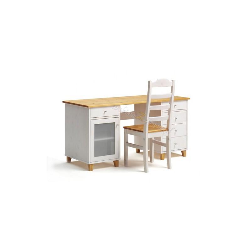 Białe biurko drewniane Siena 14 w stylu skandynawskim>                                         <span class=