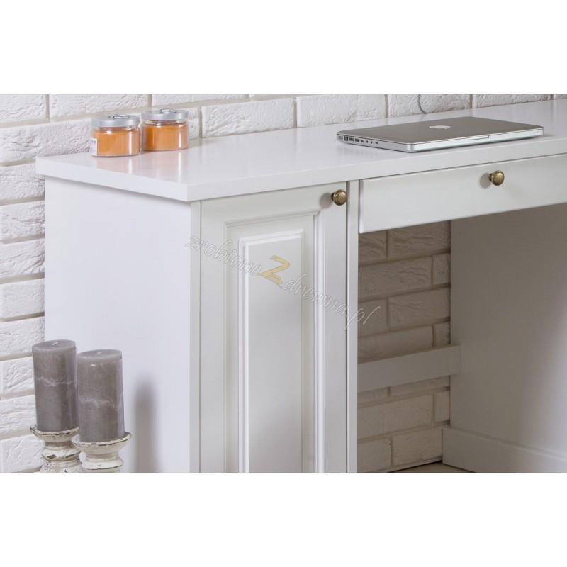 Białe biurko Parma 37 z litego drewna sosnowego>                                         <span class=