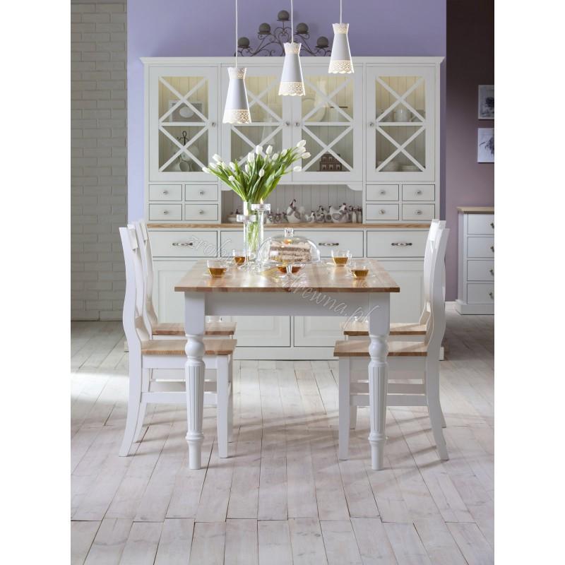 Biały stół sosnowy Nicea 12 do kuchni rozkładany>                                         <span class=