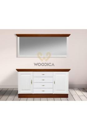 Białe lustro drewniane Roma 32 do przedpokoju