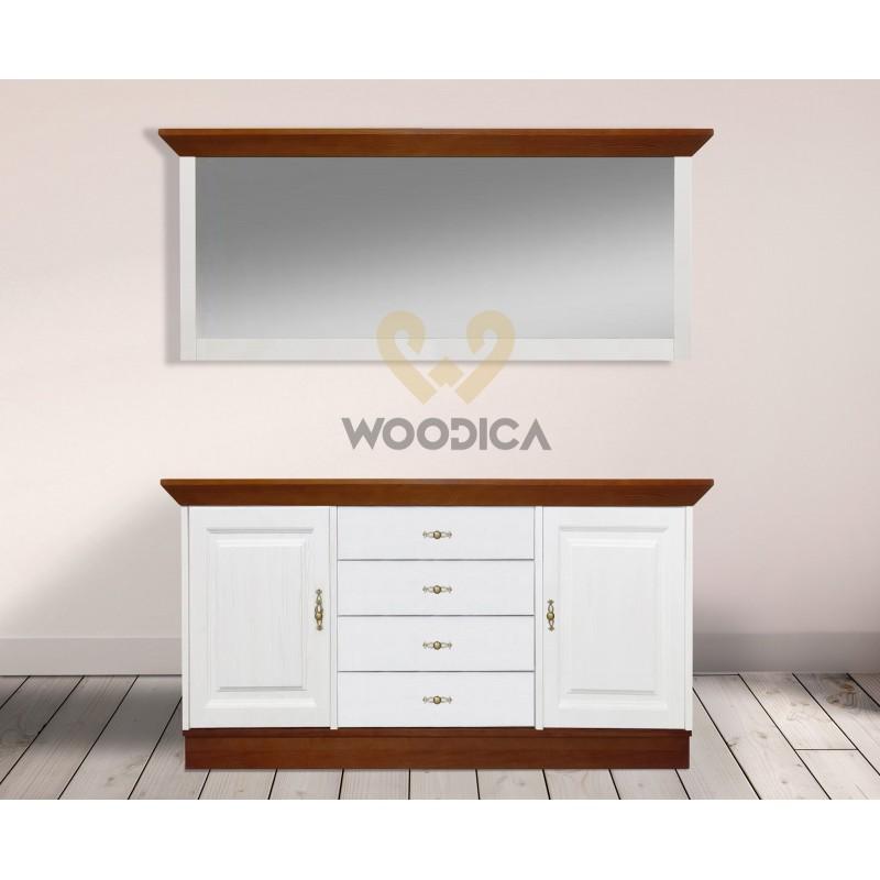 Białe lustro drewniane Roma 32 do przedpokoju>                                         <span class=