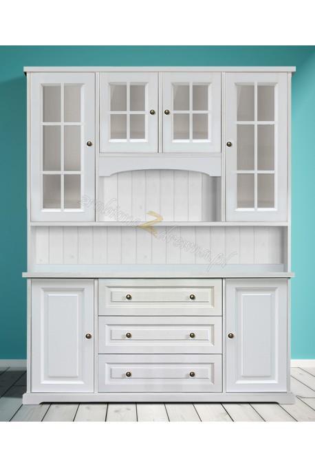 Biały kredens drewniany Parma 23 do kuchni lub salonu