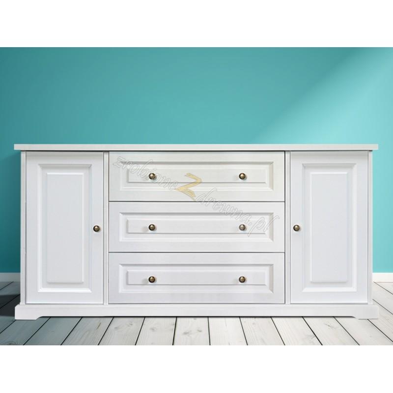 Biała komoda drewniana Parma 32 w stylu nowoczesnym>                                         <span class=