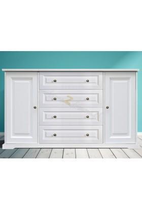 Biała komoda drewniana Parma 35 do salonu lub sypialni