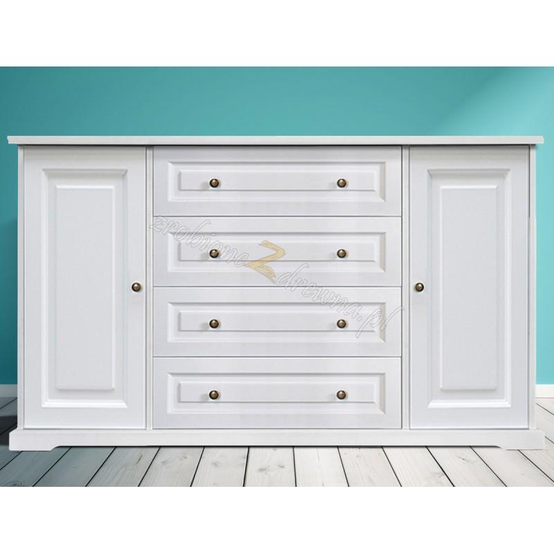 Biała komoda drewniana Parma 35 do salonu lub sypialni>                                         <span class=