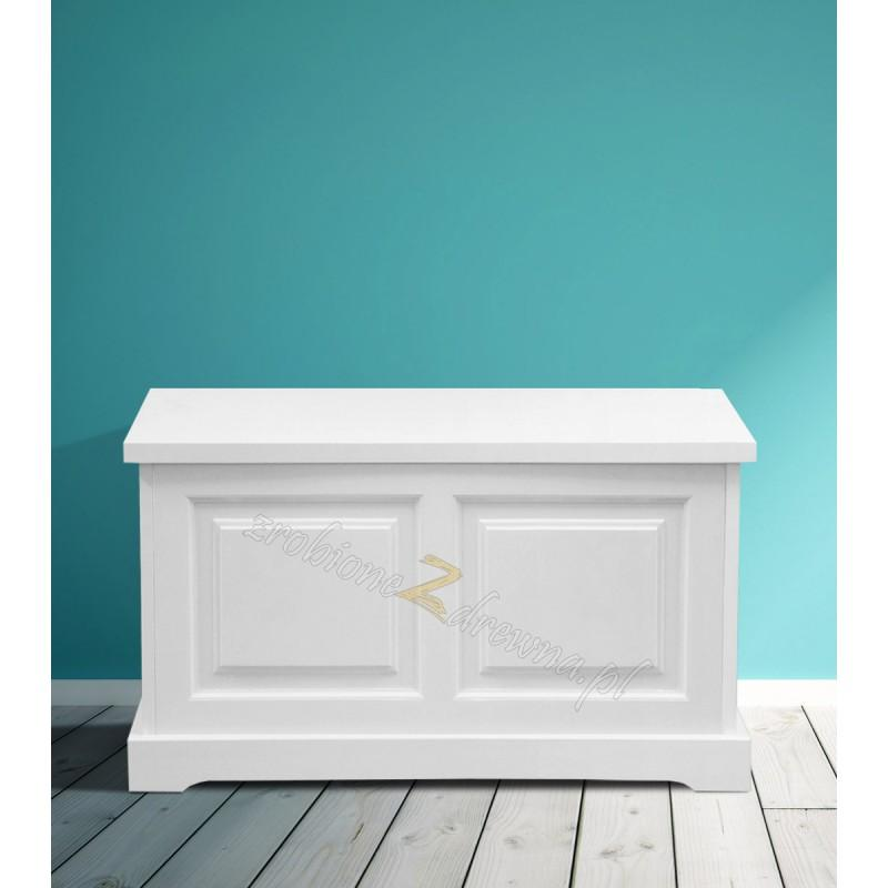 Biały kufer drewniany Parma 39 w stylu nowoczesnym>                                         <span class=
