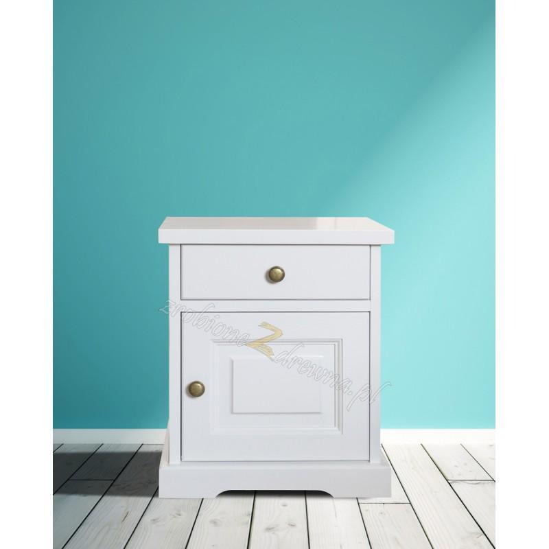 Biała szafka nocna drewniana Parma 51 w stylu nowoczesnym>                                         <span class=