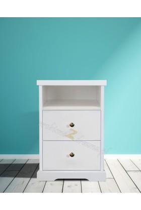 Biała szafka nocna drewniana Parma 52 do sypialni
