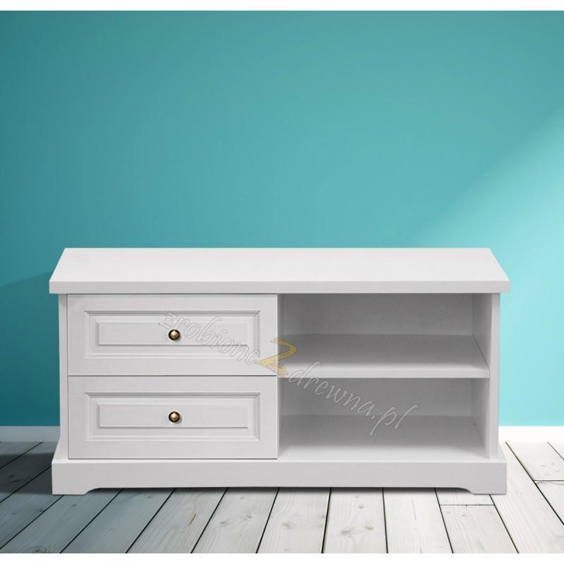 Biała szafka RTV drewniana Parma 54 w stylu nowoczesnym>                                         <span class=