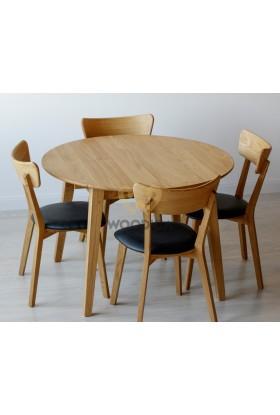 Stół dębowy okrągły rozkładany 04