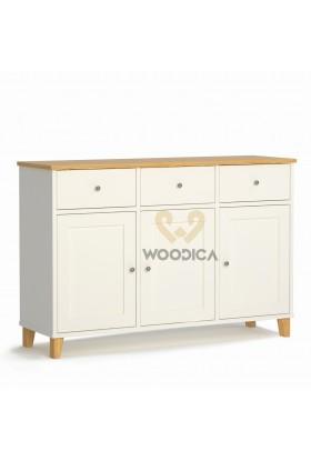 Biała komoda z drewna litego Siena 28 w stylu skandynawskim