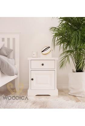 Biała szafka nocna drewniana Parma 51 w stylu nowoczesnym