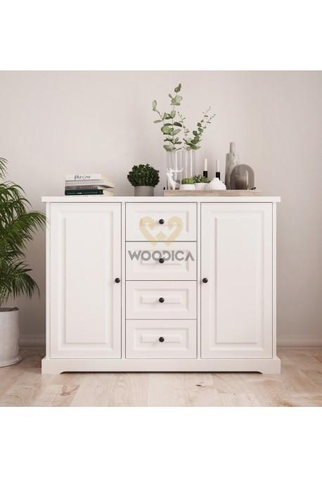 Nowoczesna komoda drewniana Parma 34 w kolorze białym