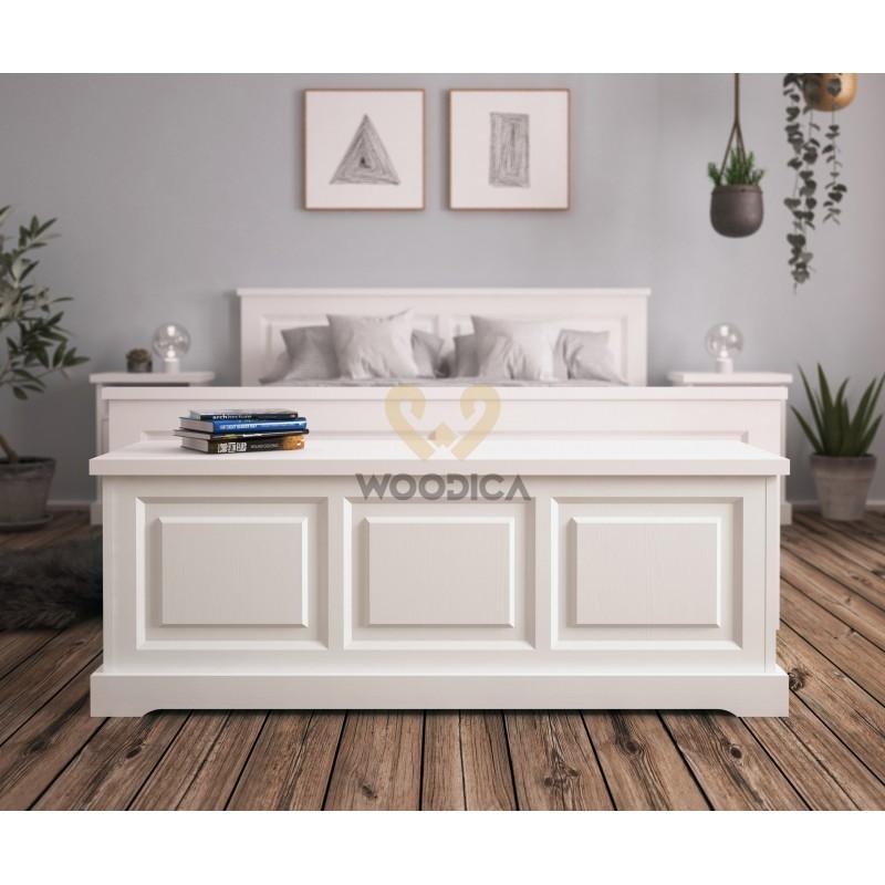 Biały kufer Parma 40 z litego drewna sosnowego>                                         <span class=
