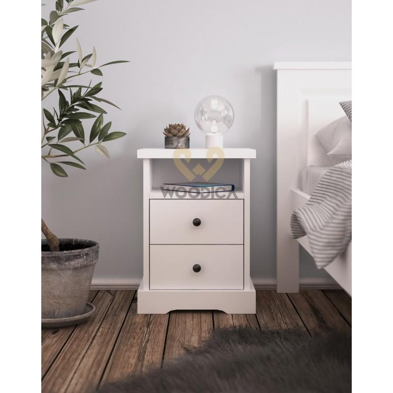 Biała szafka nocna drewniana Parma 52 do sypialni>                                         <span class=
