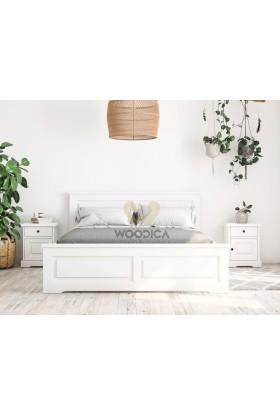 Białe łóżko drewniane Parma 48 w stylu nowoczesnym