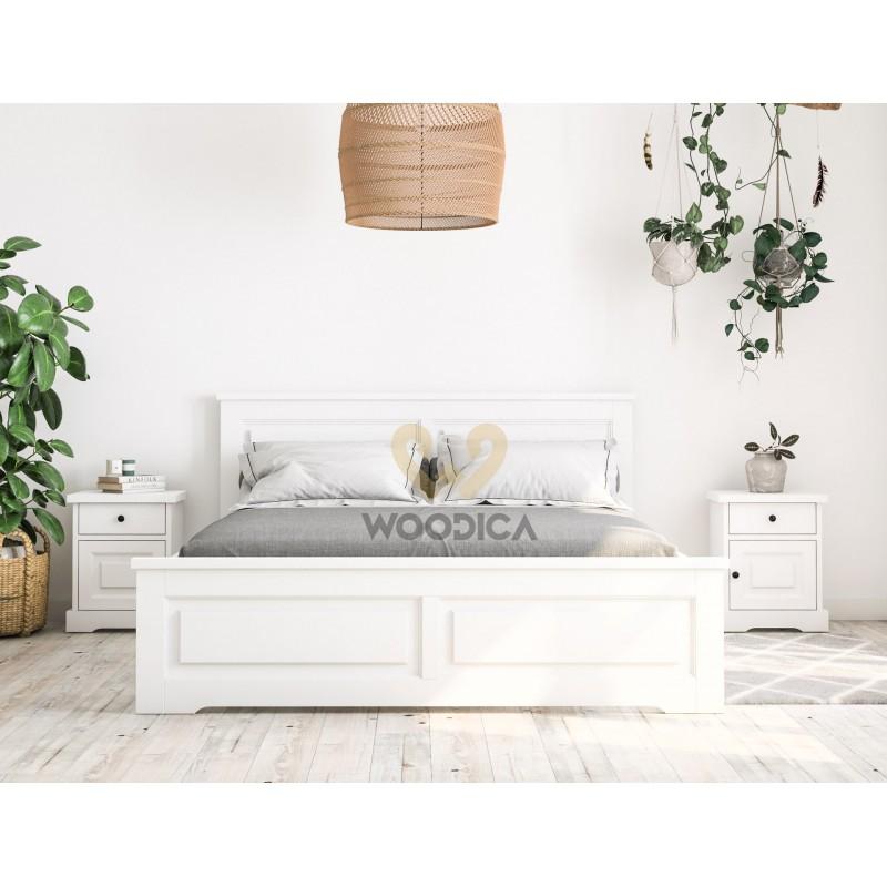 Białe łóżko drewniane Parma 48 w stylu nowoczesnym>                                         <span class=