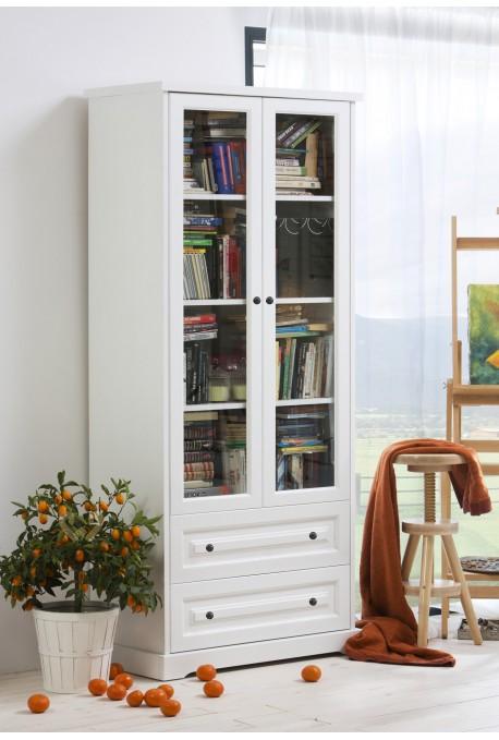 Biała witryna Parma 19 z litego drewna sosnowego