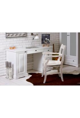 Białe biurko Parma 37 z litego drewna sosnoweg