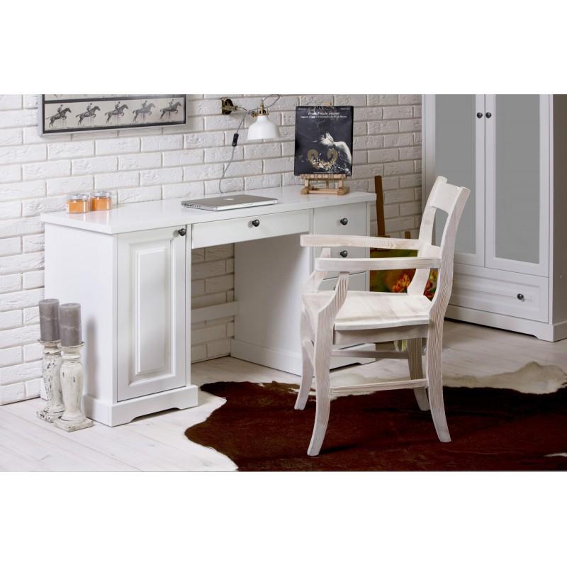 Białe biurko Parma 37 z litego drewna sosnoweg>                                         <span class=