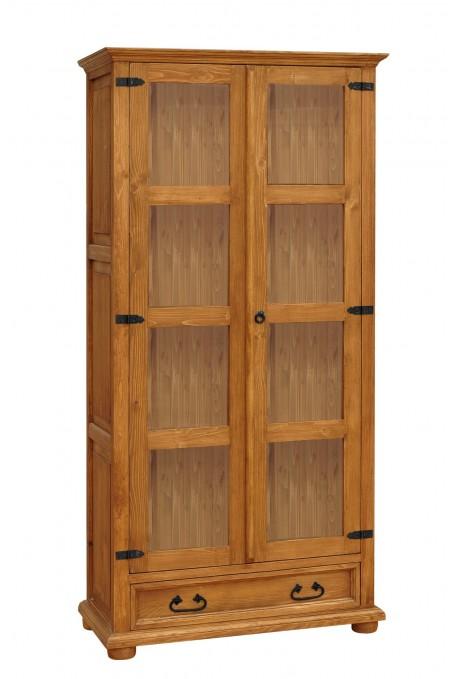 Witryna z litego drewna Hacienda 02 w stylu retro