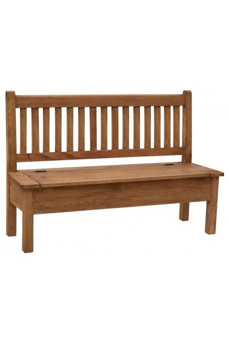 Ławka z litego drewna Hacienda 02 w stylu retro ze schowkiem