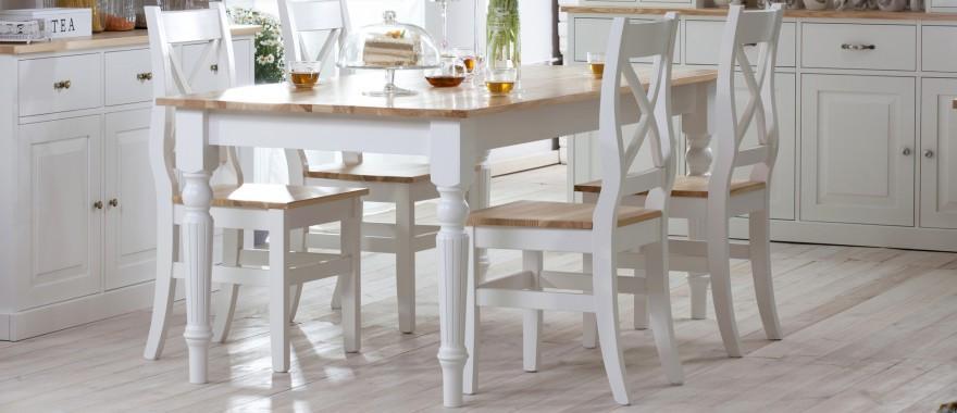 Biały stół i krzesła Nicea