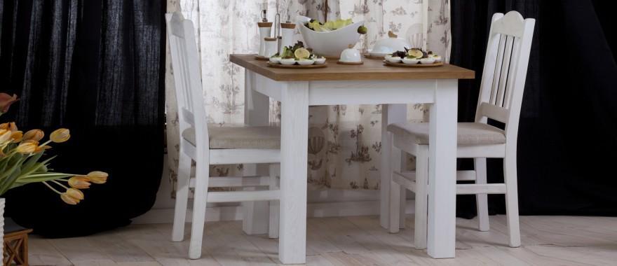 Biały stół i krzesła drewniane Roma