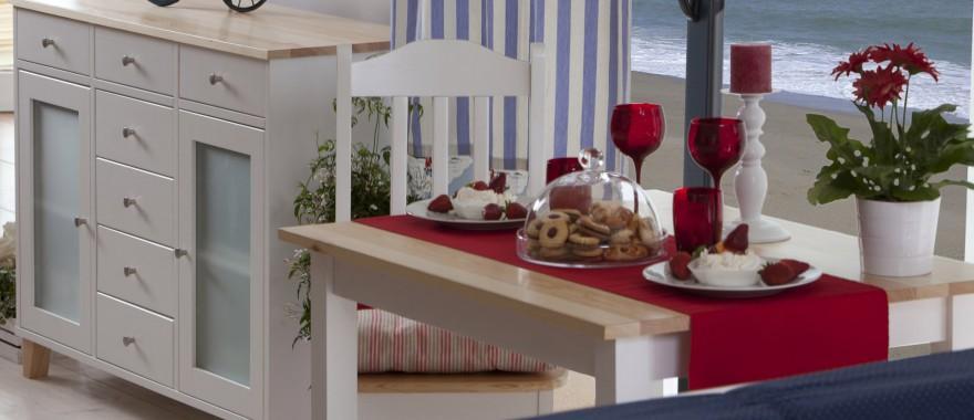 Biała komoda i stół Siena