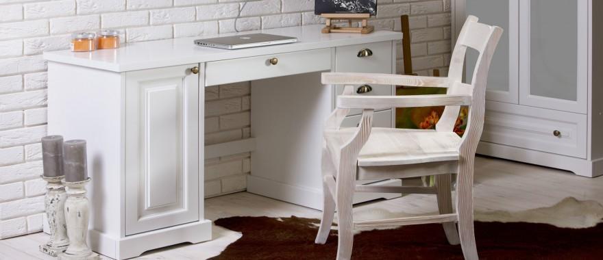 Białe biurko z litego drewna Parma