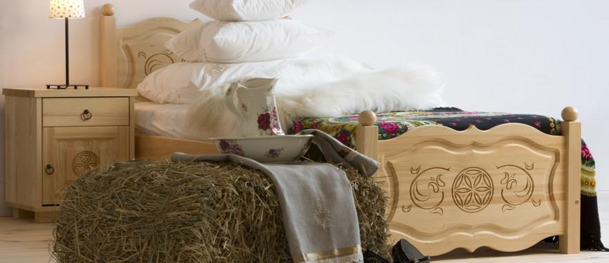 Łóżko i nakastlik sosnowy Góralski