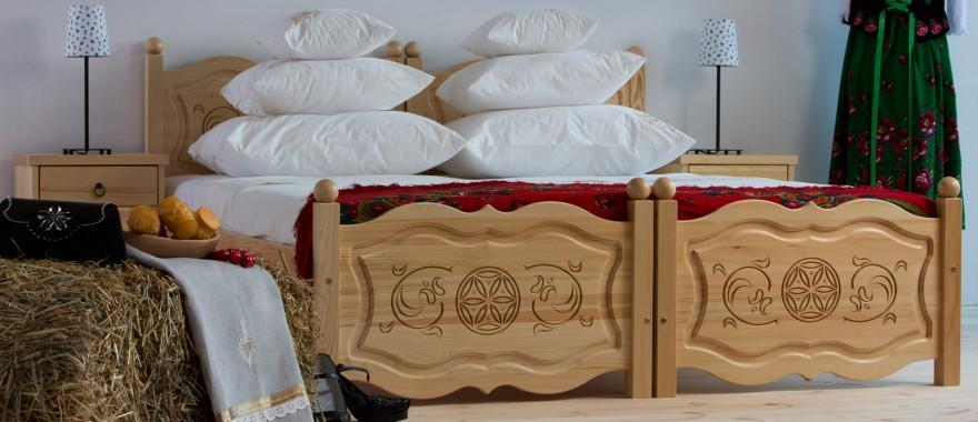 Łączone łóżka Góralskie z drewna